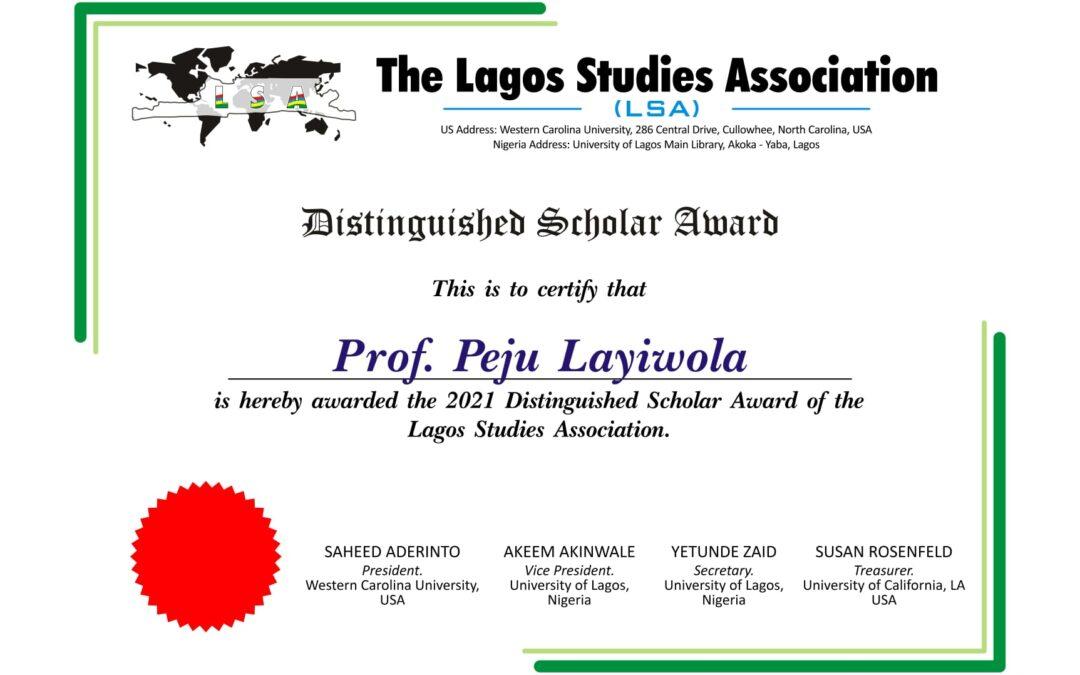 2021 LSA Distinguished Scholar Award goes to Peju Layiwola